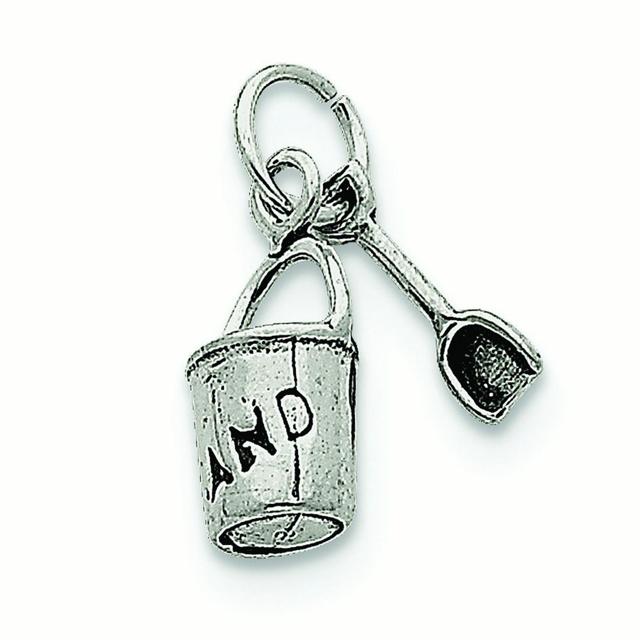 Sterling Silver Polished Antique finish Antiqued Sand Bucket and Shovel Charm - 1.8 Grams