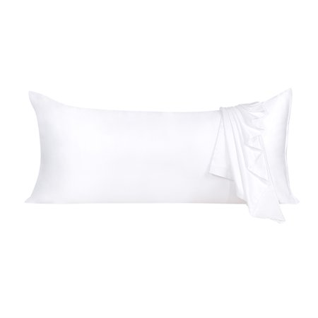 Zippered White Silky Satin Body Pillow Case 21x54 Long