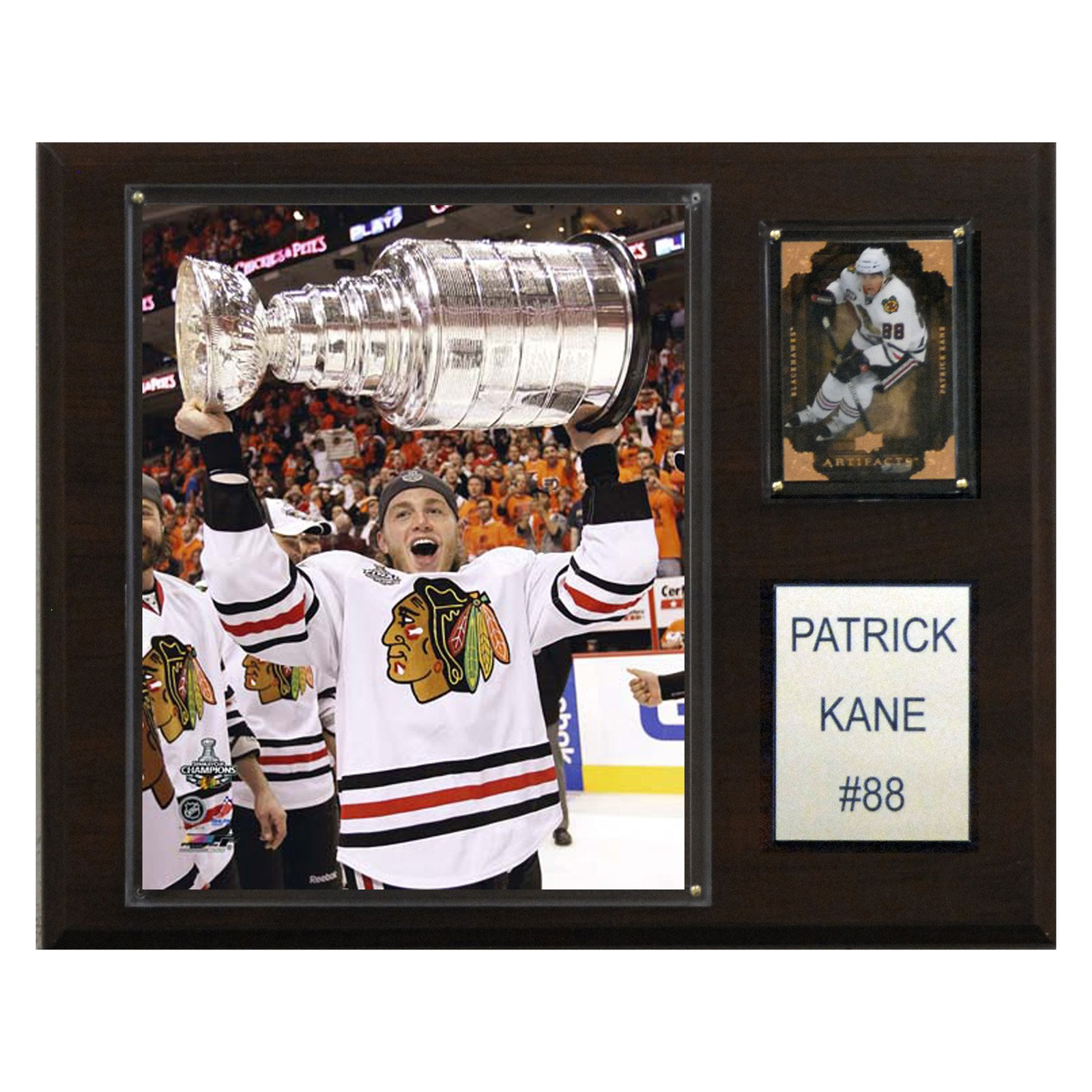 C&I Collectables NHL 12x15 Patrick Kane with Stanley Cup Chicago Blackhawks Player Plaque