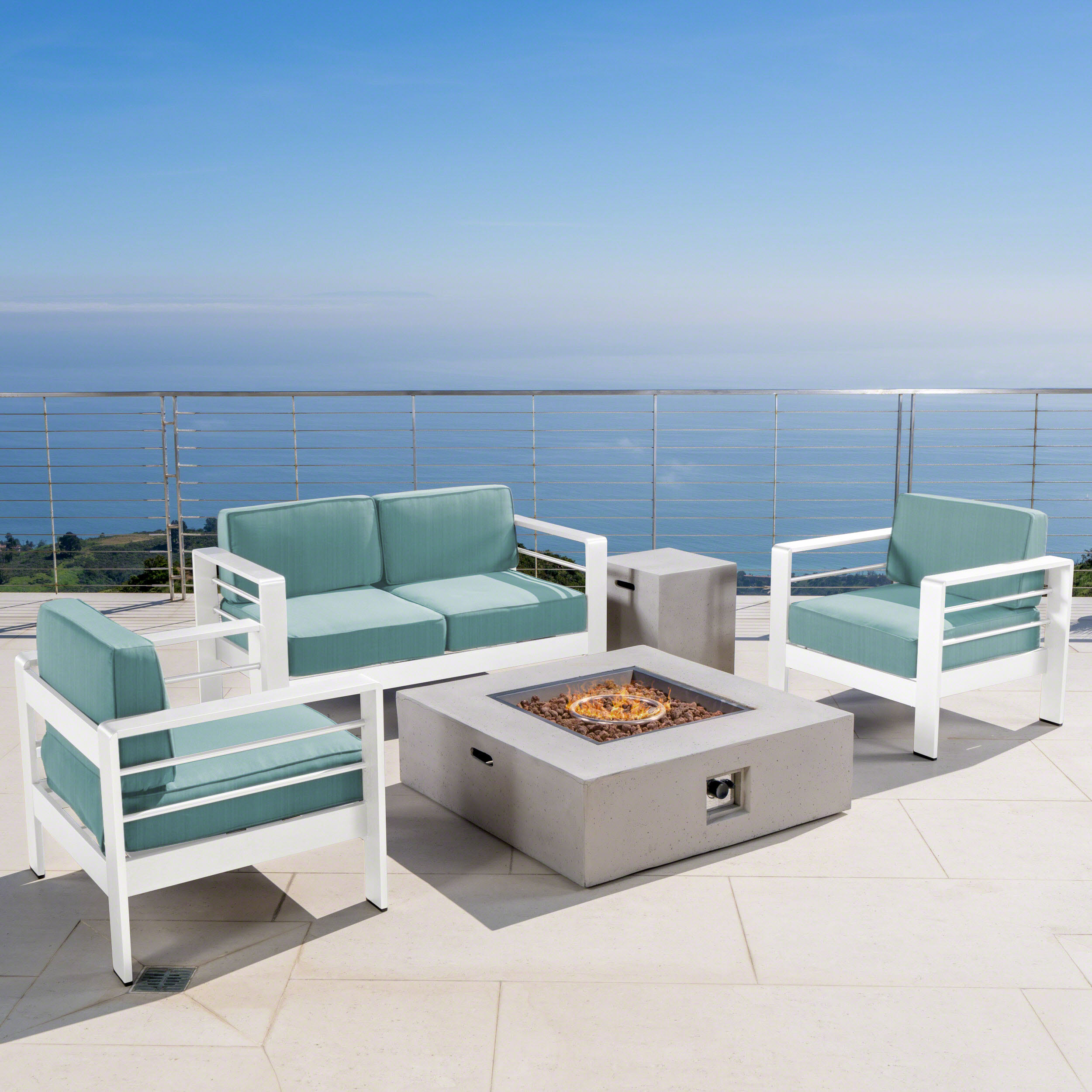 Outdoor 5 Piece Aluminum Chat Set with Cushions and Square Fire Pit,White,Grey,Teal