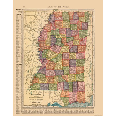 Old State Map Mississippi Hammond S Atlas 1910 23 X 29 52