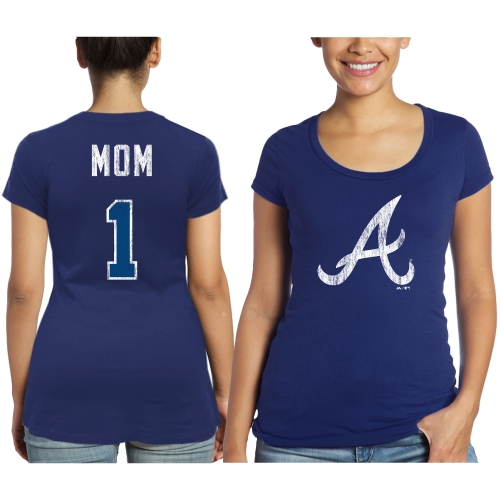 Atlanta Braves Majestic Threads Women's Mother's Day #1 Mom T-Shirt - Navy Blue