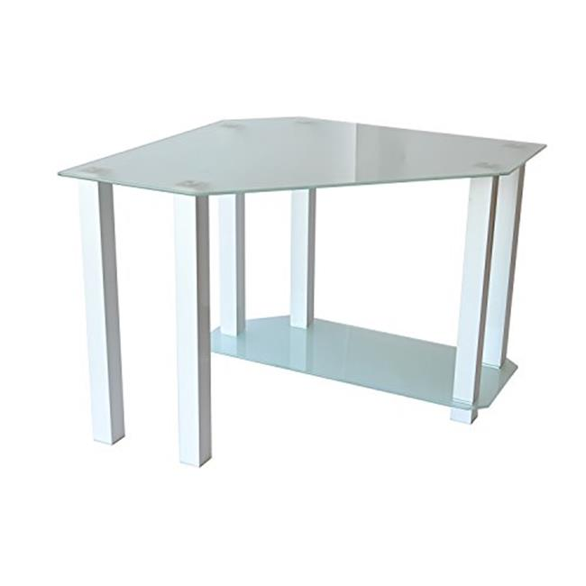Frosted Tempered Glass Gloss White Corner Computer Desk