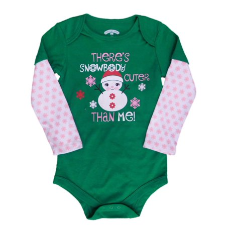 Holiday Time Infant Girls Snowbody Cuter Than Me Bodysuit Snowman Creeper