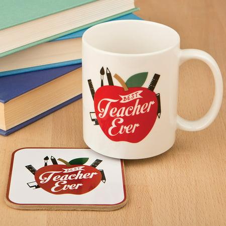 Best Teacher Ever Ceramic Coffee Cup Mug & Coaster Set Perfect Educator Gift (Cute Teacher Gifts For Halloween)