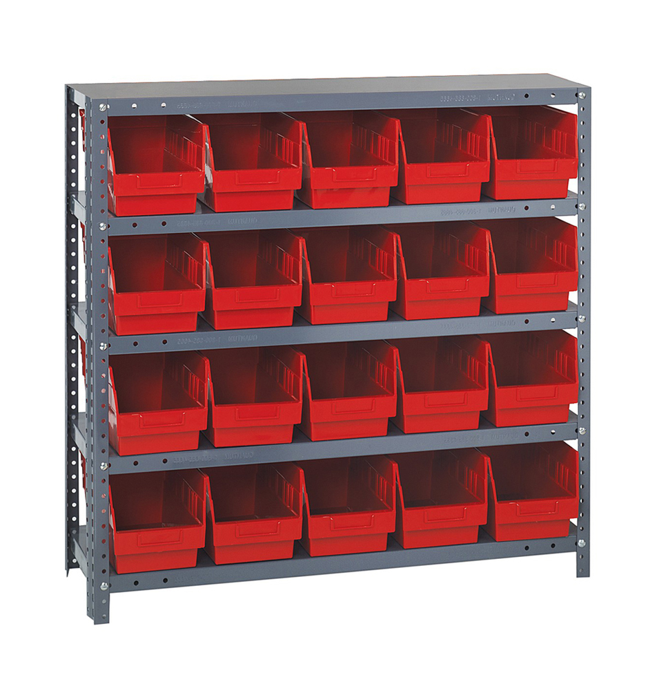 12 D x 36 W x 75 H Red Quantum Storage Systems 1275-201RD Store More Shelf and Bin Unit
