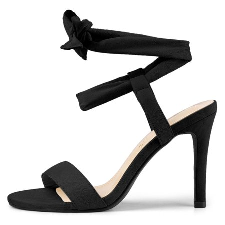 Women's Open Toe Lace Up Stiletto High Heels Sandals Black US 9 - image 1 of 7