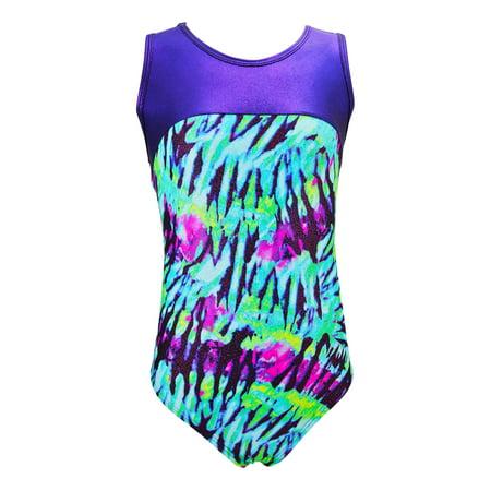 Girls Gymnastics Leotard - Tank with Keyhole (Aqua Tie Dye, Youth 10-12) - Aqua Tie Dye,Youth 10-12](Plus Size Green Leotard)