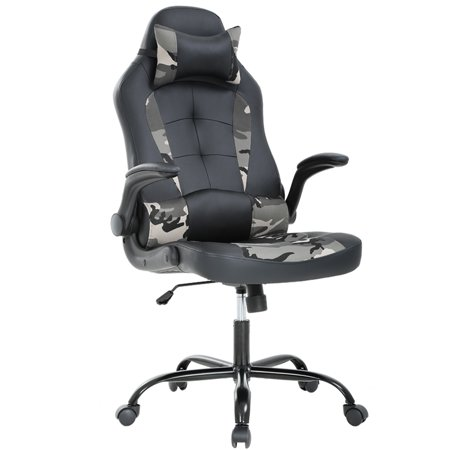 Gaming Chair Racing High-Back PU Leather Office Chair Rolling Swivel Executive Desk Chair with Lumbar Support Adjustable Arms Computer Chair for Back