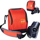First2savvv high quality anti shock Orange Nylon camcorder case bag for SONY DCR SX83E
