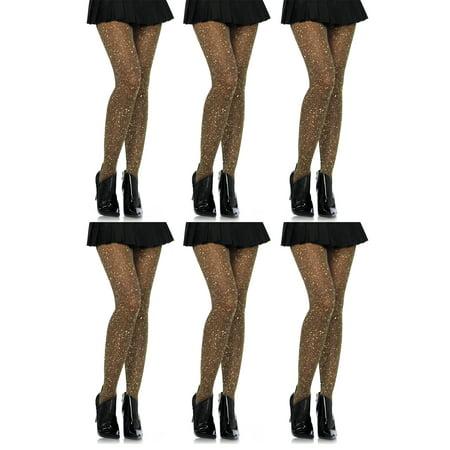 (Leg Avenue Women's Lurex Tights, Gold, 6-Pair)
