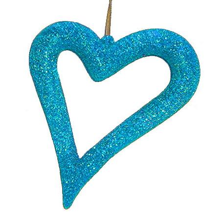 (Jazzy Blue Glitter Asymmetrical Heart Christmas Ornament)