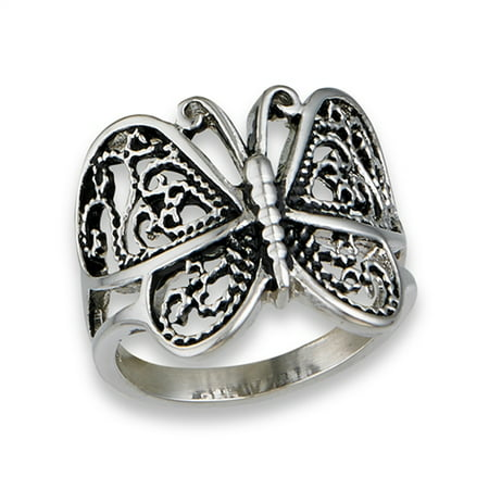 Butterfly Heart Filigree Wings Ring New Stainless Steel Animal Band Size