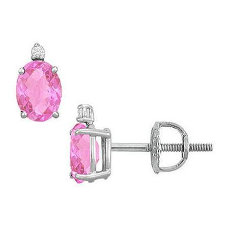 Diamond and Pink Topaz Stud Earrings 14K White Gold 2.04 CT TGW - image 2 de 3