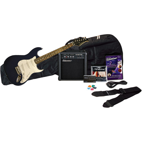 Silvertone Revolver Electric Guitar Package with Instructional DVD, Blue by Silvertone