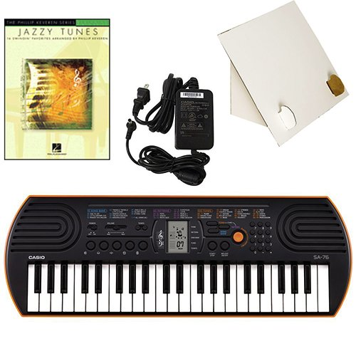 Casio SA-76 44 Key Mini KeyboardDeluxe Bundle Includes Bonus Casio AC Adapter, Desktop Music Stand & Jazzy Tunes Beginning Piano Solo Songbook