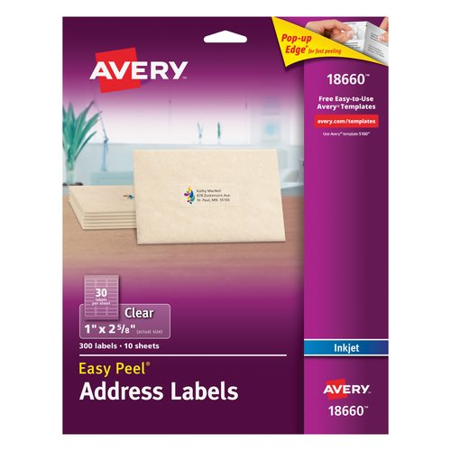 "Avery Easy Peel Inkjet Mailing Labels1"" x 2-5/8"", Clear, Pack of 300"