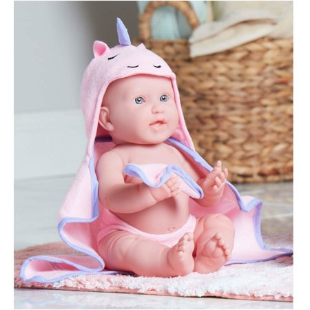 "JC Toys La Newborn with Hooded Unicorn Towel - Realistic 17"" Anatomically Correct Real Girl - All Vinyl Designed by Berenguer for Children 2+"
