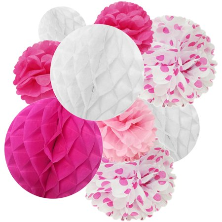 Wrapables® Set of 21 Tissue Honeycomb Ball and Pom Party Decorations for Weddings, Birthday Parties Baby Showers and Nursery Decor, Pink/ Hot Pink/ - Hot Pink Party Decorations