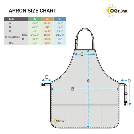 oGrow High Quality 'Large' Gardener?? Tool Apron With Adjustable Neck And Waist Belts - Blue/White Striped - Large - image 1 of 2