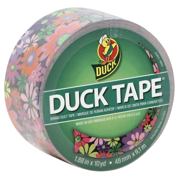 "Duck Duct Tape 1.88""x10yd Bright Flowers"