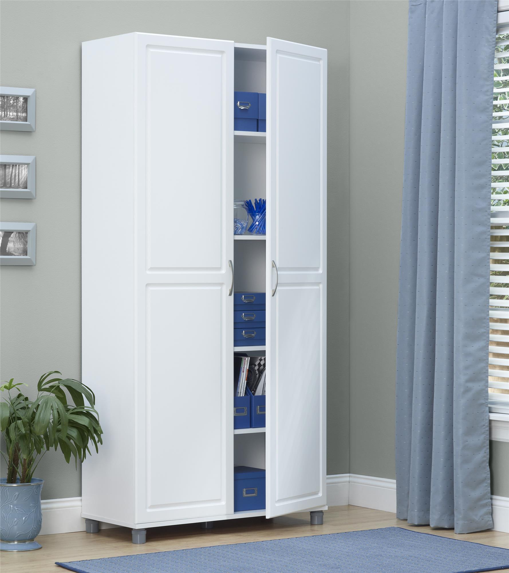 Systembuild 35 7 W X 15 4 D X 74 3 H Utility Storage Cabinet White Walmart Com Walmart Com
