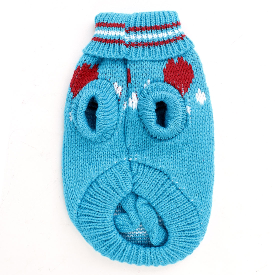 Unique Bargains Winter Warm Bone Print Turtleneck Pet Dog Yorkie Clothing Sweater Blue XXS