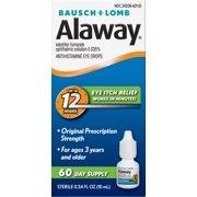 Alaway® Antihistamine Eye Drops(Ketotifen Fumarate Ophthalmic Solution 0.035%)from Bausch + Lomb 0.34 FL OZ (10 mL)