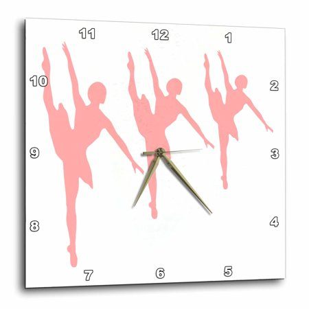 Ballerina Clock (3dRose 3 Pink Ballerinas, Wall Clock, 10 by 10-inch)