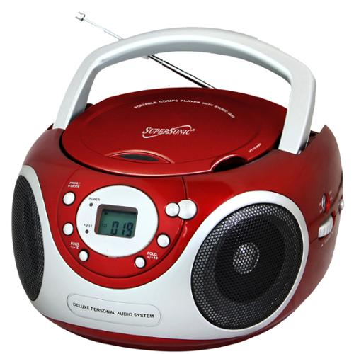 Supersonic 505RED Portable Boombox CD Player AM/FM Radio ...