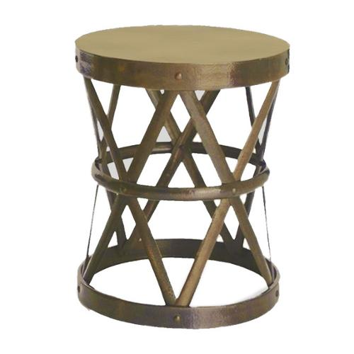 Horizon Hammered Brass Drum Cross Table/ Stool