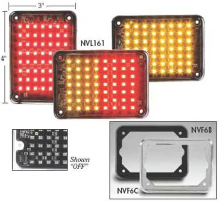 NOVA SL3X4AR Warning Light, LED, Amber/Red, Rect, 4-1/4 L G4833053