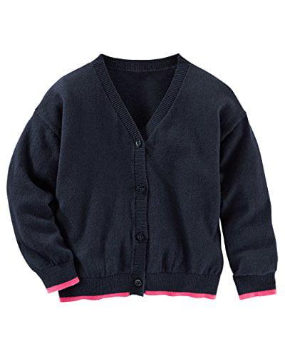 OshKosh B'gosh Big Girls' Navy Blue Cardigan- Pink Trim Sweater- 14 Kids