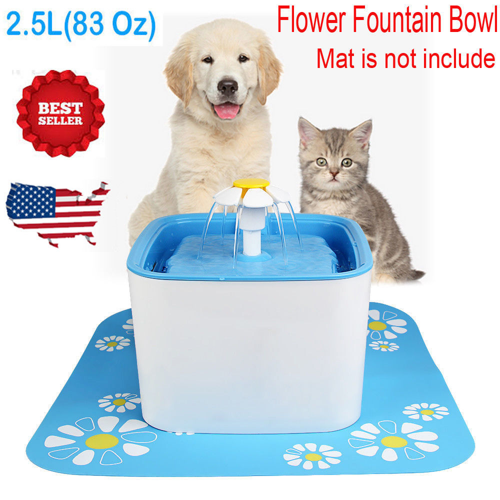 2.5 L Flower Style Automatic Electric Pet Water Fountain Dog/Cat Drinking Bowl With Flower Mat, Blue