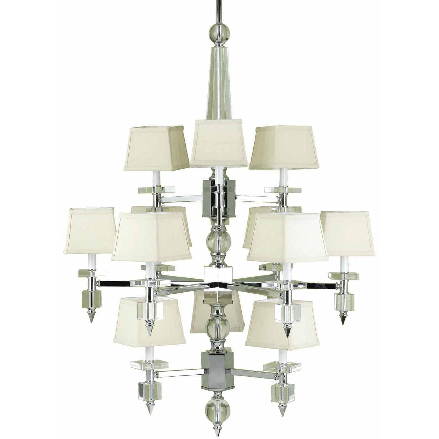 Af Lighting Cluny 12 Light Chandelier With Cream Shades Crystal Chrome