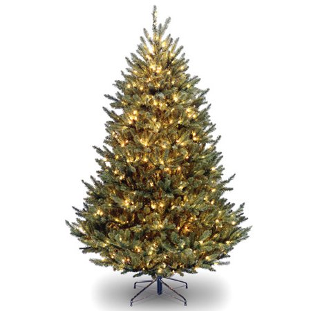 National Tree Pre-Lit 7-1/2' Natural Fraser Fir Medium Hinged Artificial Christmas Tree with 1000 Clear Lights