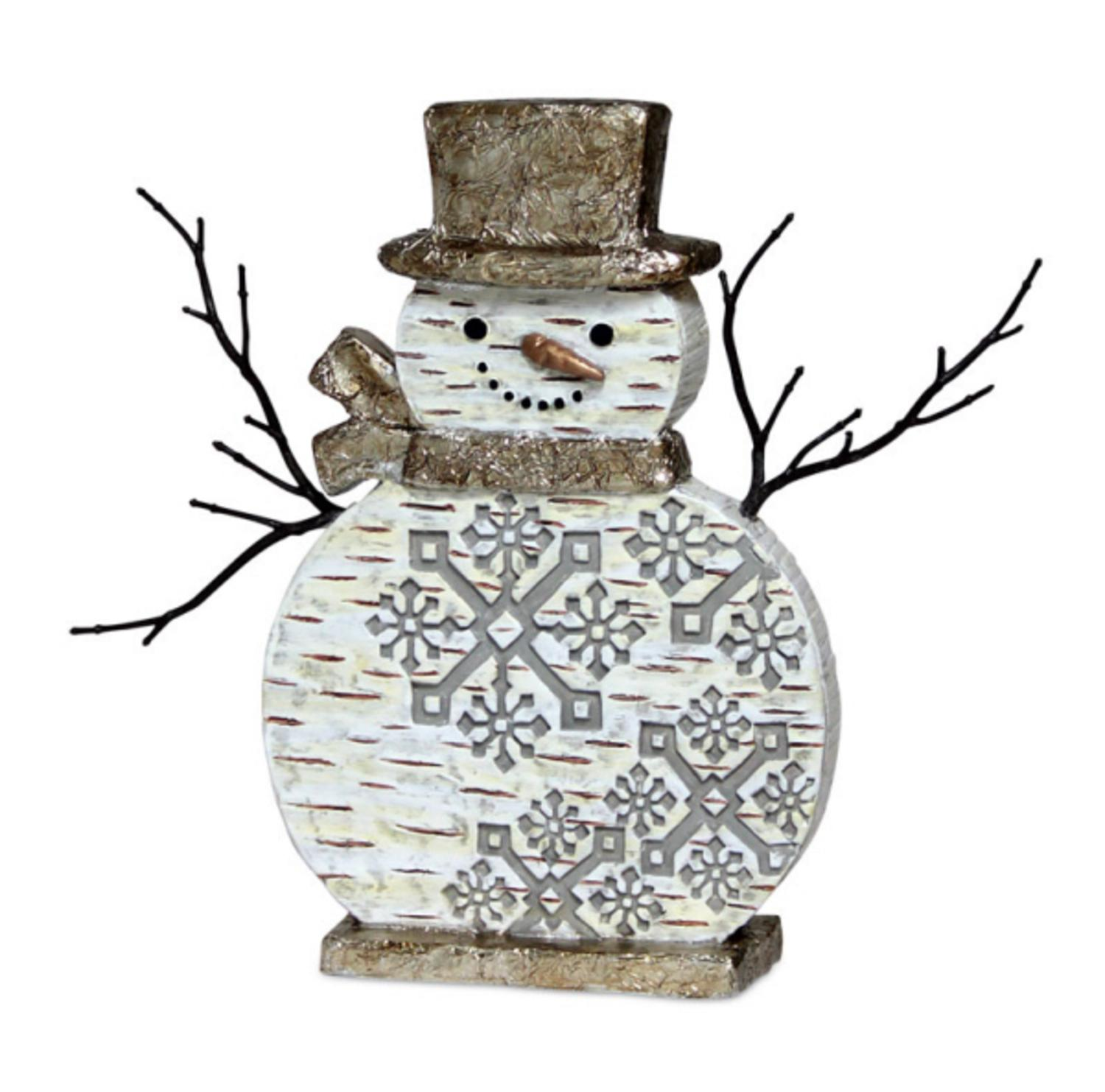 "10"" Festive Birch Bark Snowman Adorned with Snowflakes Christmas Table Top Decoration"