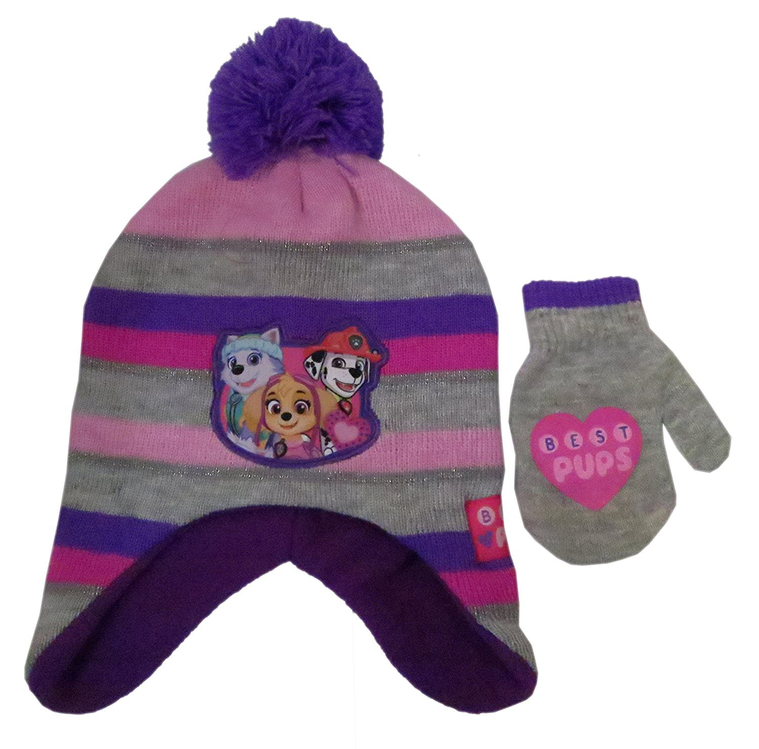e2276f9f6 Nickelodeon Toddler Girls/Boys Paw Patrol Knit Scandinavian Hat with Pompom  and Matching Mitten Set