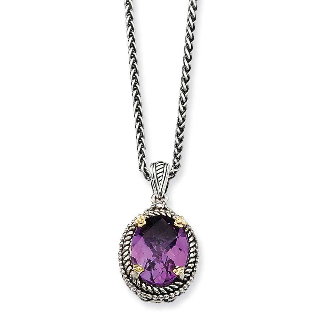 Roy Rose Jewelry Sterling Silver and 14K Gold Amethyst Necklace ~ Length 18'' inches by