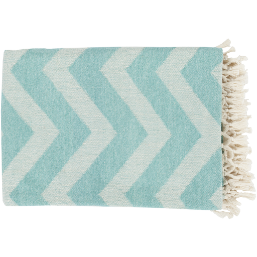 "50"" x 70"" Wavy Horizons Ivory and Agua Blue Tassel and Fringe Throw Blanket"