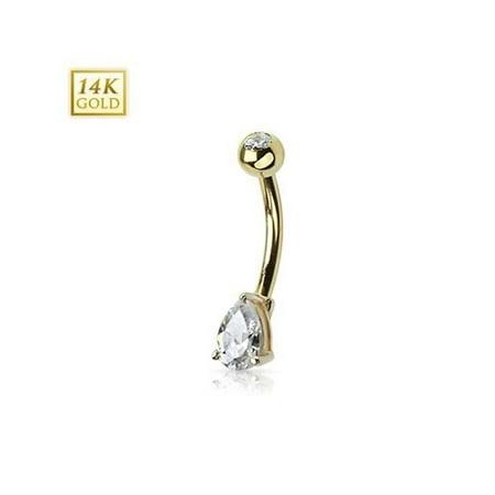 14K Gold Belly Ring Tear Drop CZ Prong Set 14 Karat Solid Yellow Gold Navel Ring