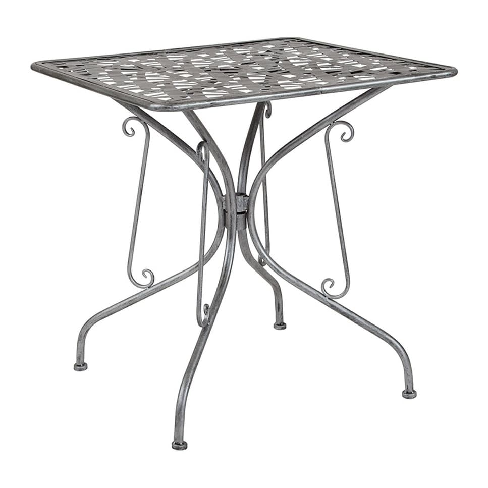 """Offex  27.5"""" Square Contemporary Antique Silver Indoor Outdoor Steel Patio Table"""