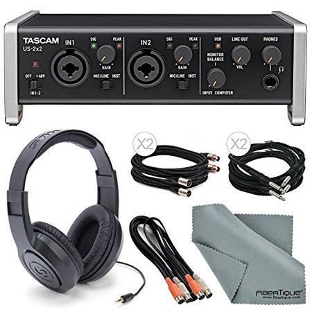 Tascam US-2x2 2-Channel USB Audio Interface Deluxe Bundle W/ Dual MIDI Cable ... (Tascam Speaker)