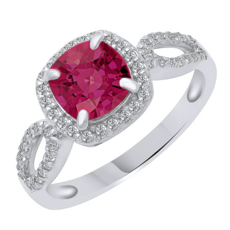 White Gold Pinky Rings (Cushion Cut Simulated Pink & White Sapphire Solitaire Ring in 14k White Gold Over Sterling Silver (1.57 Cttw) Ring Size - 4)