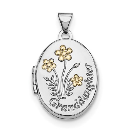 Sterling Silver Rhodium-plated w/Gold-plate Oval Granddaughter Locket QLS596