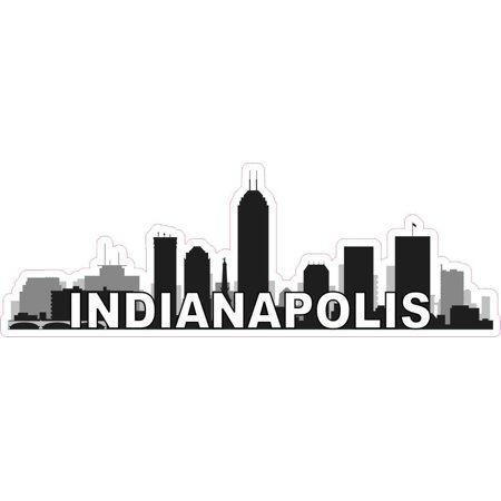 City Sticker Bumper (10in x 3.5in Indianapolis Skyline Sticker Vinyl Car Window Bumper Stickers )