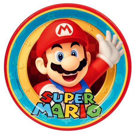 Super Mario Plates (Super Mario Party Supplies 16 Pack Lunch)
