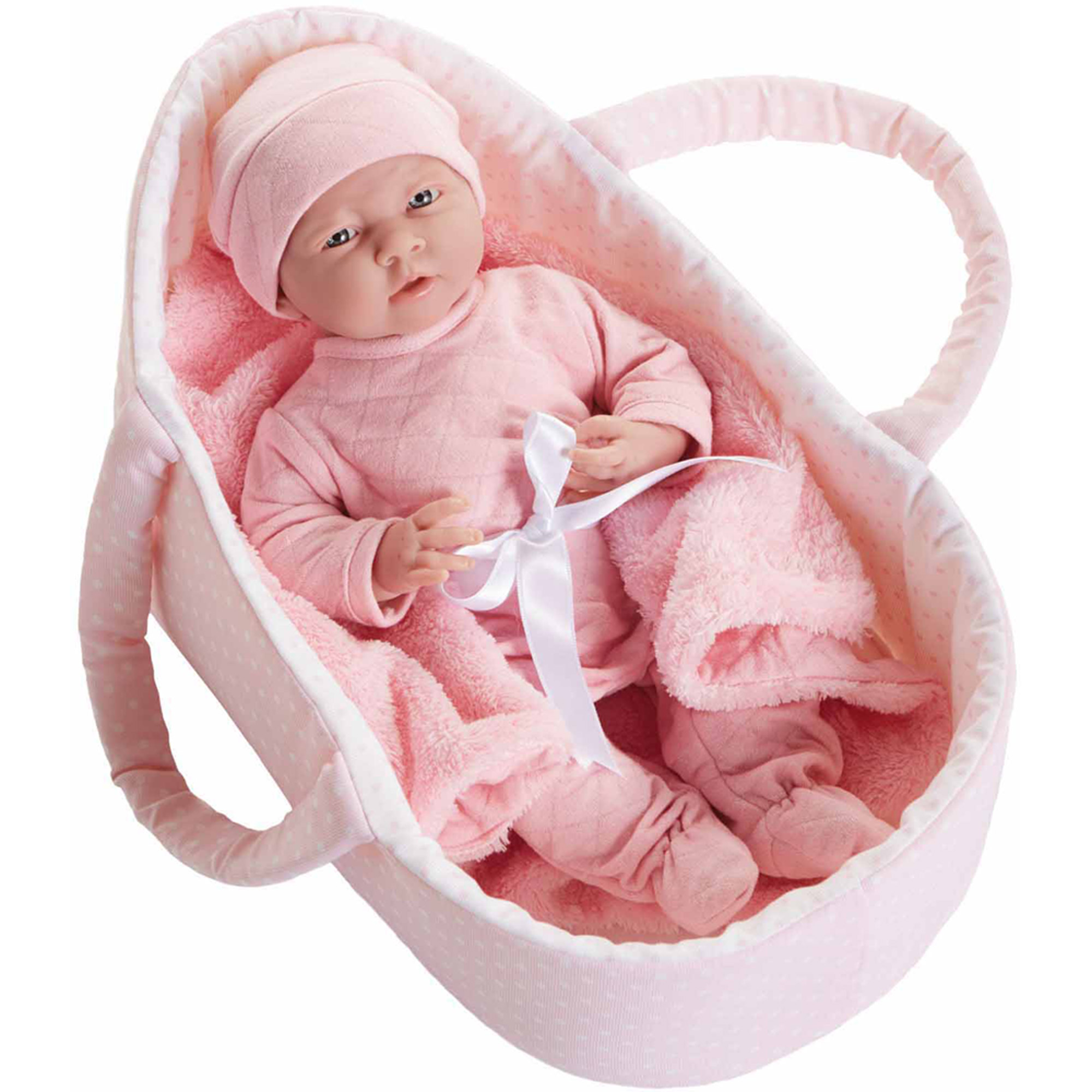 "La Newborn 15.5"" Soft-Body Realistic Newborn Baby Doll Deluxe Carry Basket Set"