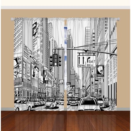 Times Square Manhattan New York City Broadway Bedroom Living Curtains 2 Panels