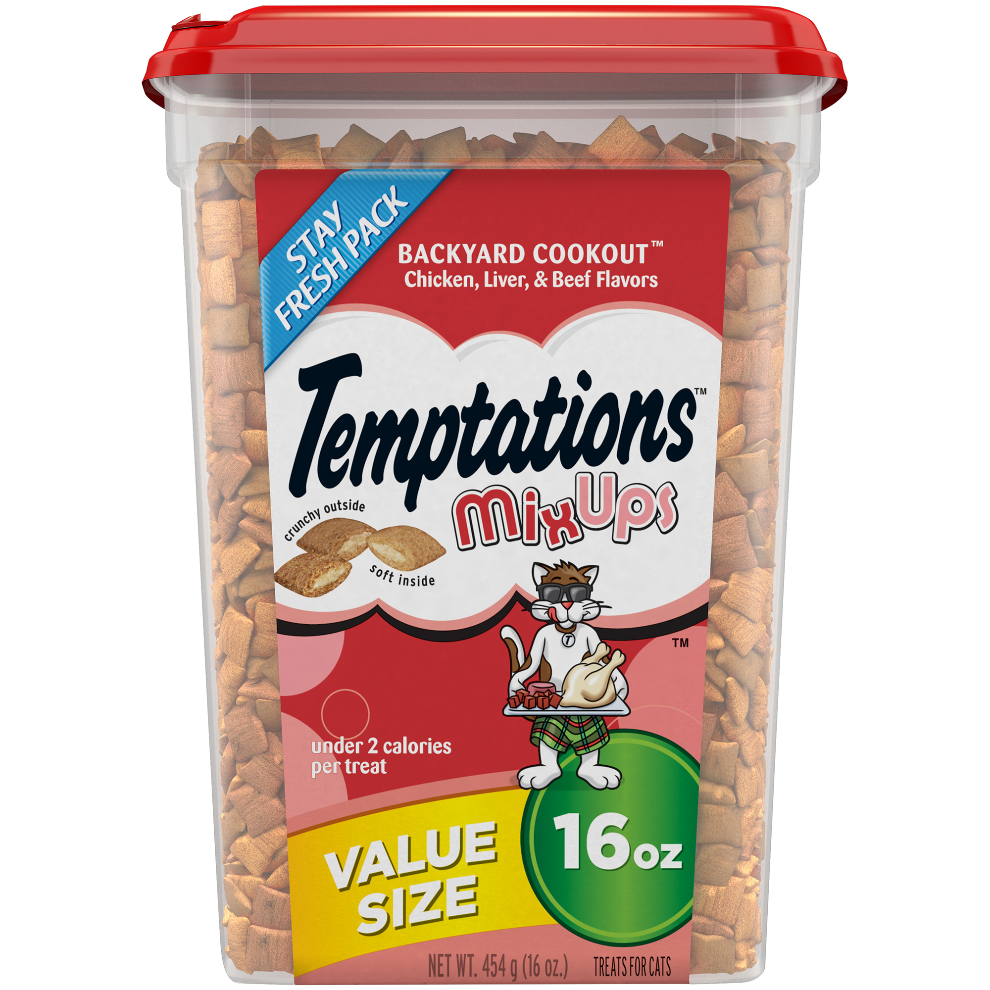 TEMPTATIONS MixUps Cat Treats BACKYARD COOKOUT Flavor, 16 oz. Tub